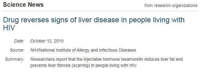 hiv 注射激素,hiv 肝纤维化,HIV 肝脏脂肪,沙莫林,可注射激素替沙莫林可以减少HIV感染者的肝脏脂肪,并防止肝纤维化